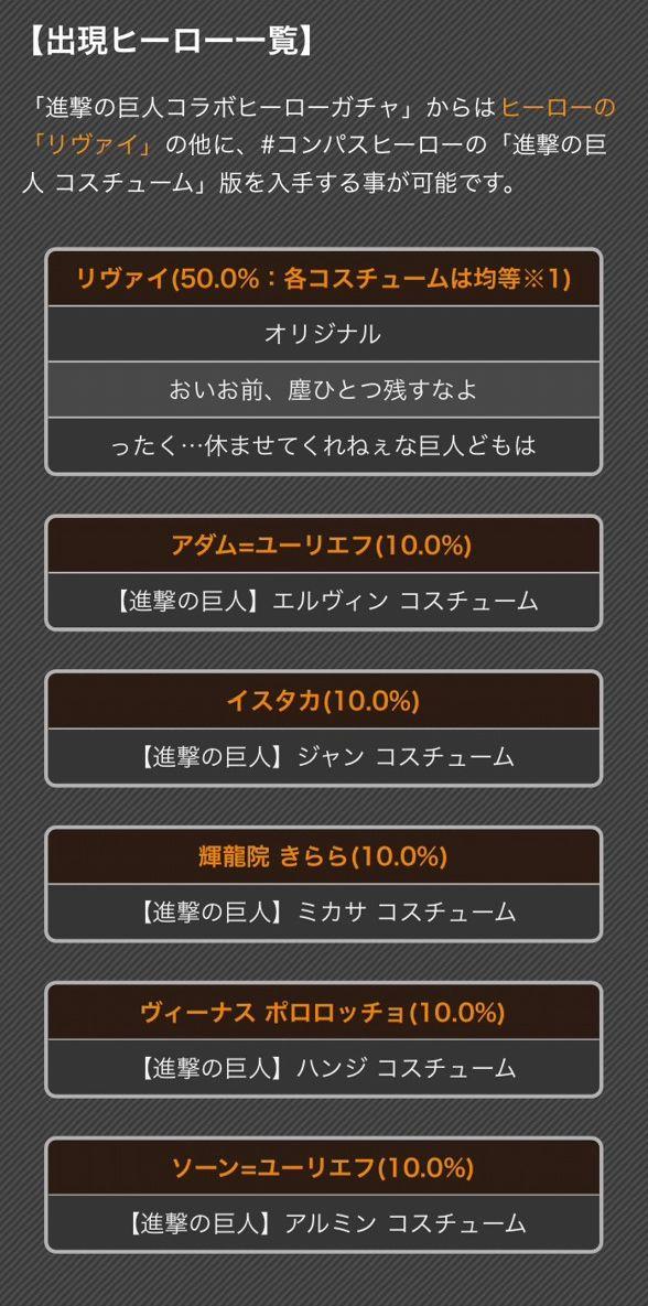 #コンパス【カード】: 『進撃の巨人』コラボ復刻!限定カードの詳細性能&コスチューム紹介!!