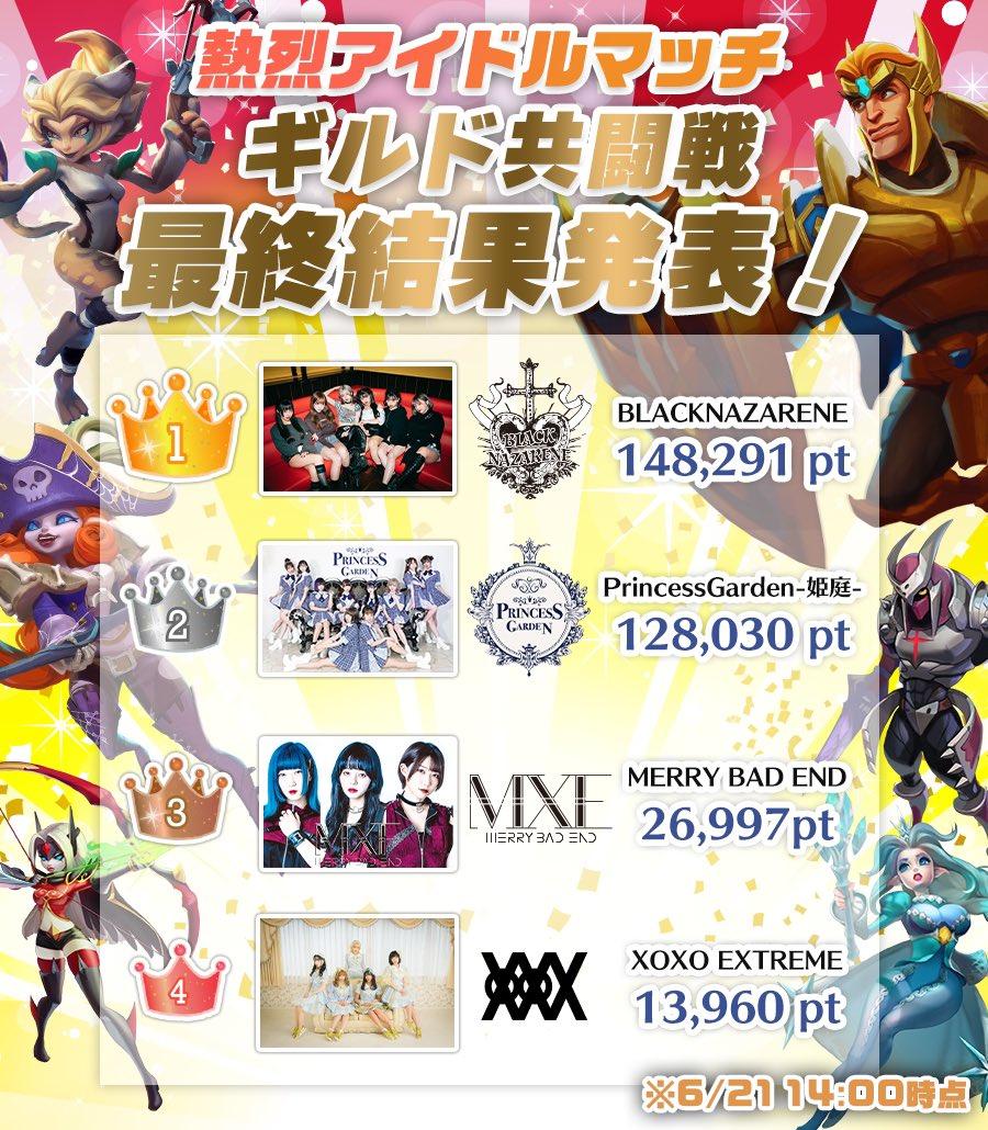 ロードモバイル【ニュース】:「熱烈アイドルマッチ」でBLACKNAZARENEが優勝!